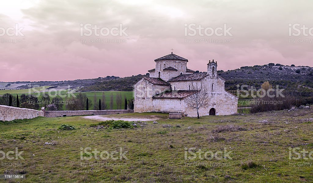 Church of la Anunciada in sunset royalty-free stock photo