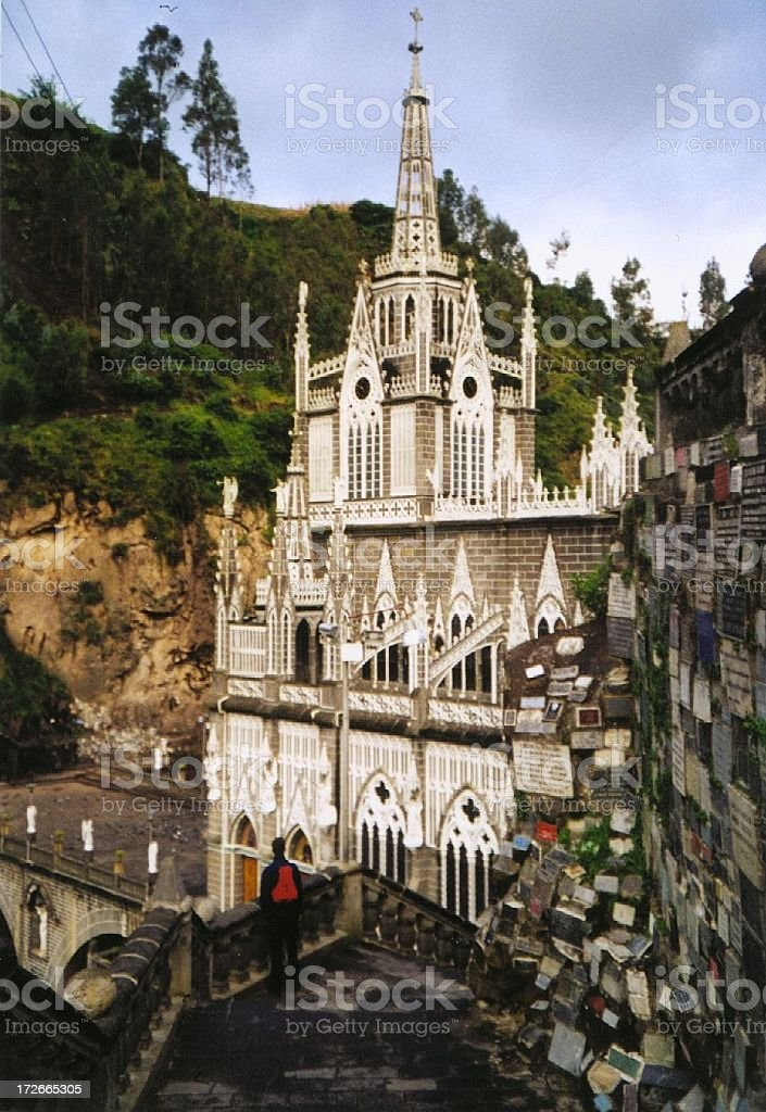 Church of Las Lajas in Colombia, in themiddle of a river stock photo