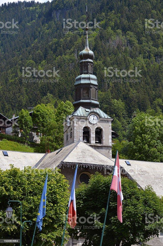Church of Morzine in France stock photo