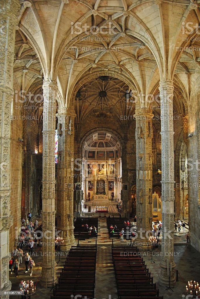Church of Mosteiro dos Jeronimos in Lisbon. stock photo