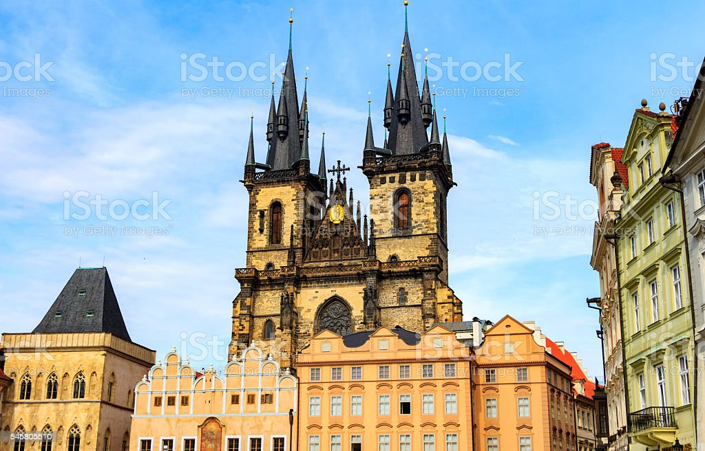 Church of Mother of God in front of Tyn stock photo