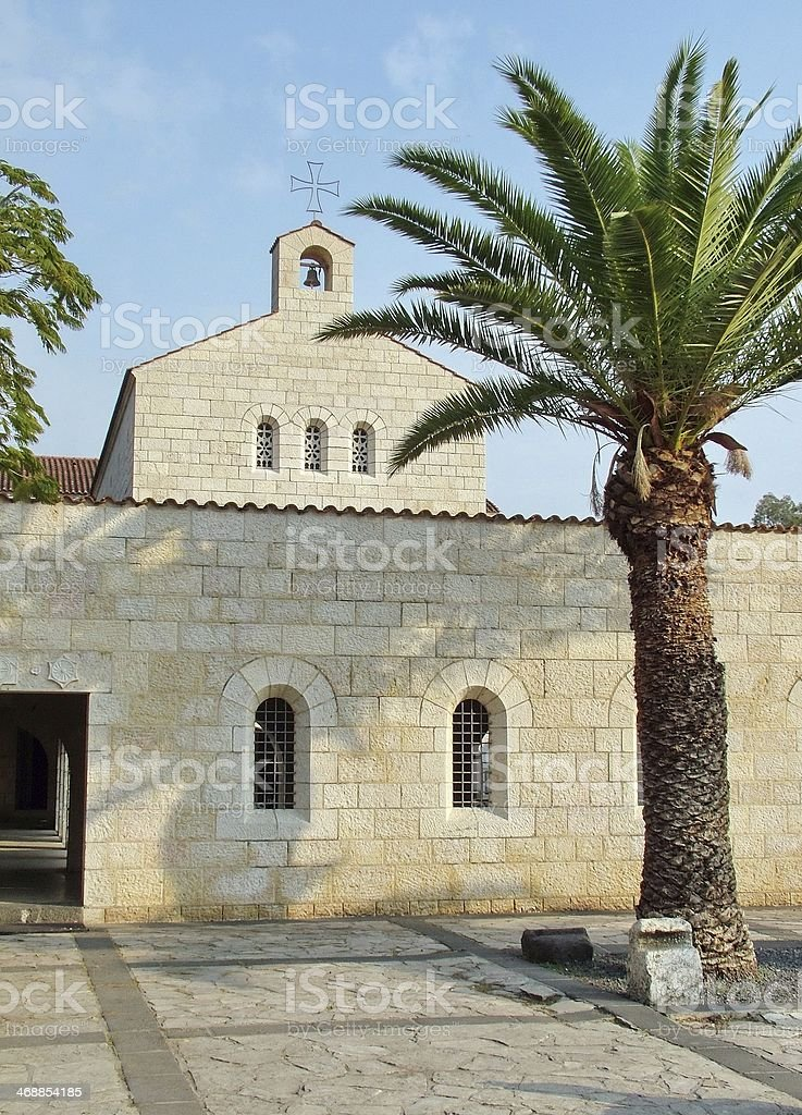 Church of Multiplication Facade in Tabgha royalty-free stock photo