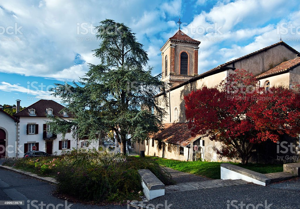 Church of Notre-Dame-de-l-Assomption in La Bastide-Clairence stock photo