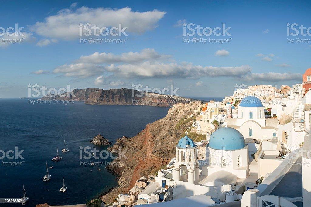 Church of Oia village in Santorini island of Greece stock photo