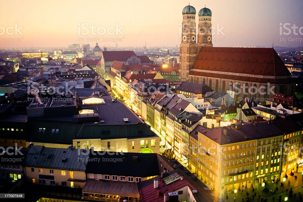 Church of our Dear Lady in Munich at dusk stock photo