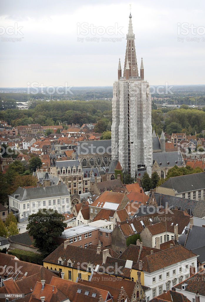 Church of our Lady and skyline in Brugge, Belgium royalty-free stock photo