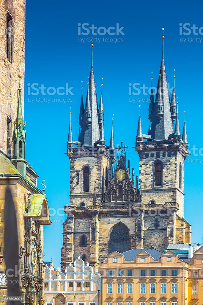 Church of Our Lady before Týn in Prague stock photo