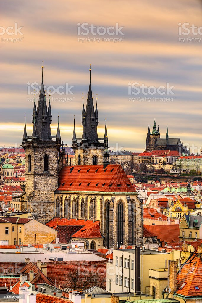 Church of Our Lady before Týn, Prague. stock photo