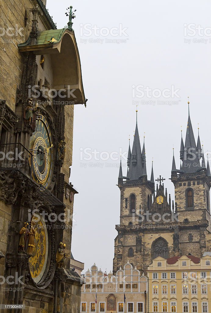 Church of Our Lady before Tyn and Astronomical Clock, Prague royalty-free stock photo