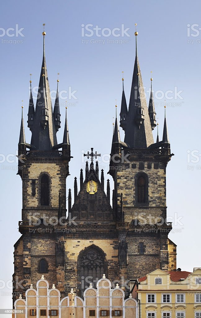 Church of Our Lady before Tyn in Prague. Czech Republic stock photo