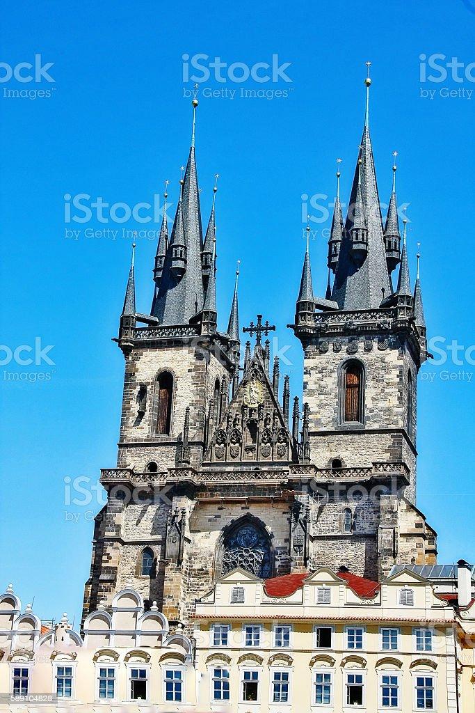 Church of Our Lady before Tyn (Tyn church), Prague, Czech stock photo