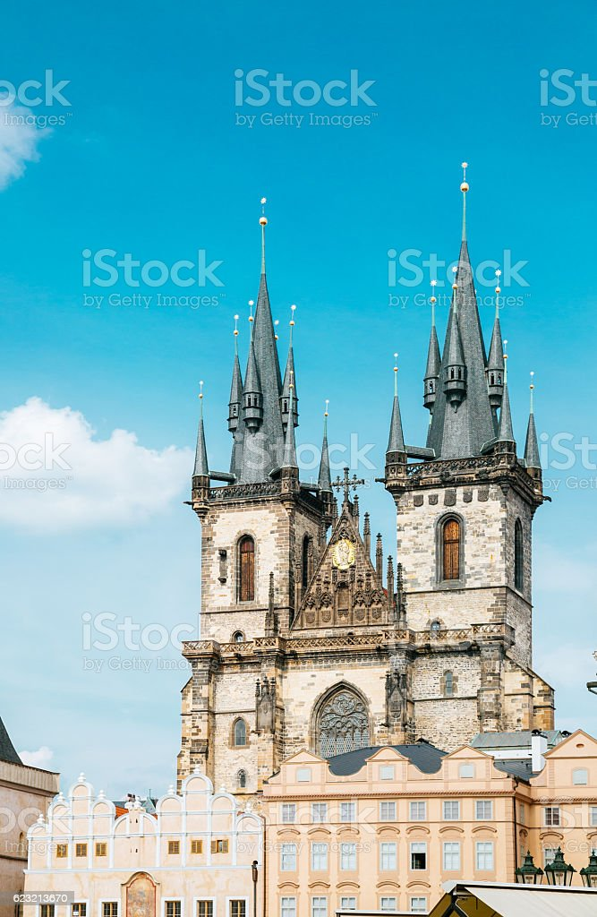 Church of our lady before Tyn, Prague  old town square stock photo