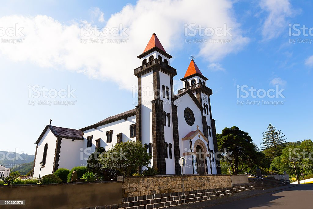 Church of Our Lady of Joy in Furnas, Azores, Portugal stock photo