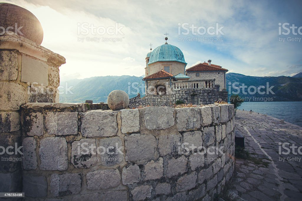 Church of Our Lady of the Rocks, Bay of Kotor stock photo