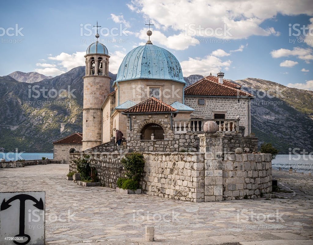 Church of Our Lady of the Rocks stock photo