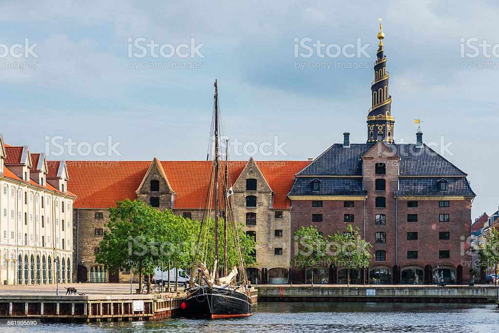 Church of Our Saviour and Christianshavn stock photo