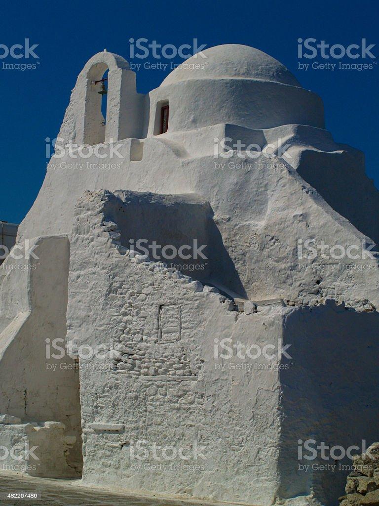 Church of Panagia Paraportiani, Myconos stock photo