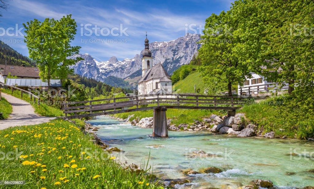 Church of Ramsau, Berchtesgadener Land, Bavaria, Germany stock photo