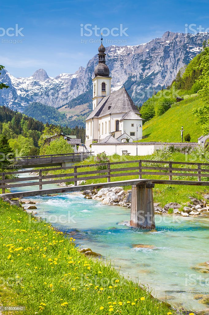 Church of Ramsau, Nationalpark Berchtesgadener Land, Bavaria, Germany stock photo