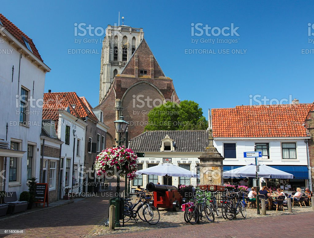 Church of Saint Catherine and Old Houses in Brielle stock photo