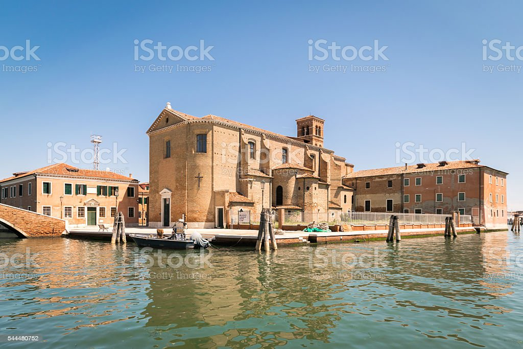 Church of Saint Dominic built on an island in Chioggia. stock photo