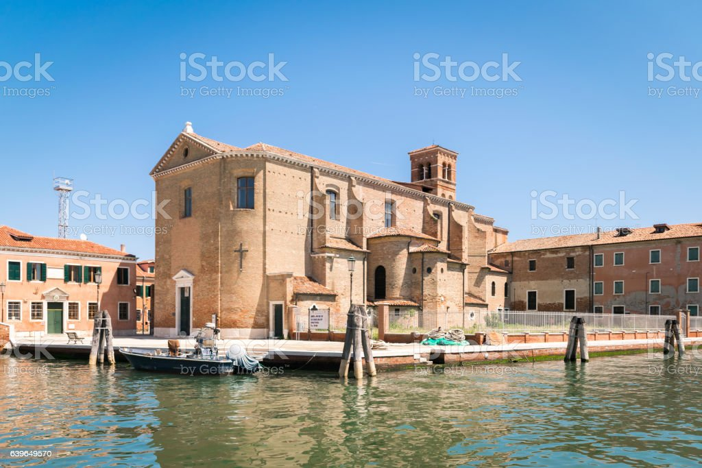 Church of Saint Dominic built on an island in Chioggia, stock photo