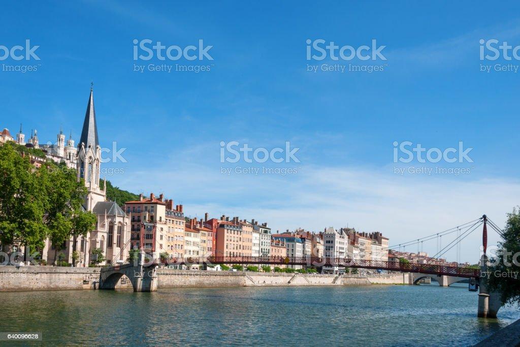 Church of Saint Georges and footbridge, Lyon, France. stock photo