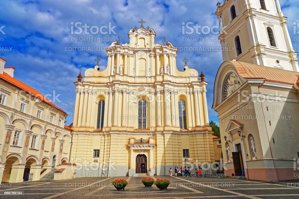 Church of Saint John and bell tower at Vilnius University stock photo