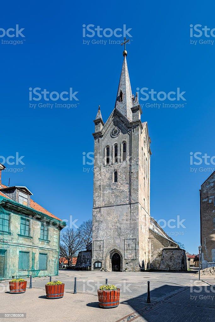 Church of Saint John the Baptist in Cesis stock photo