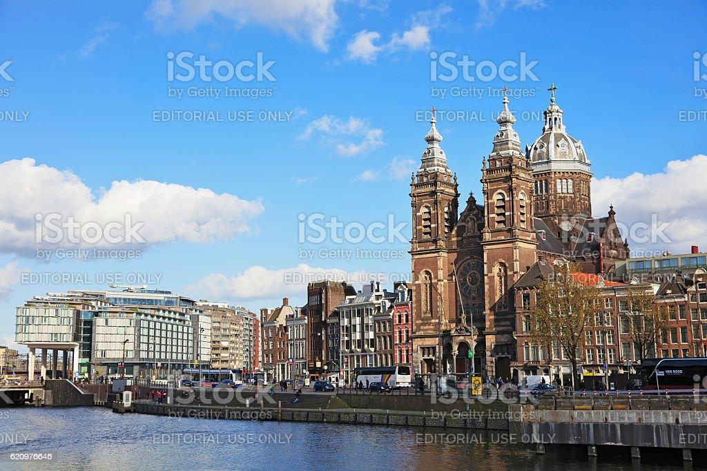 Church of Saint Nicholas in Amsterdam, Netherlands stock photo