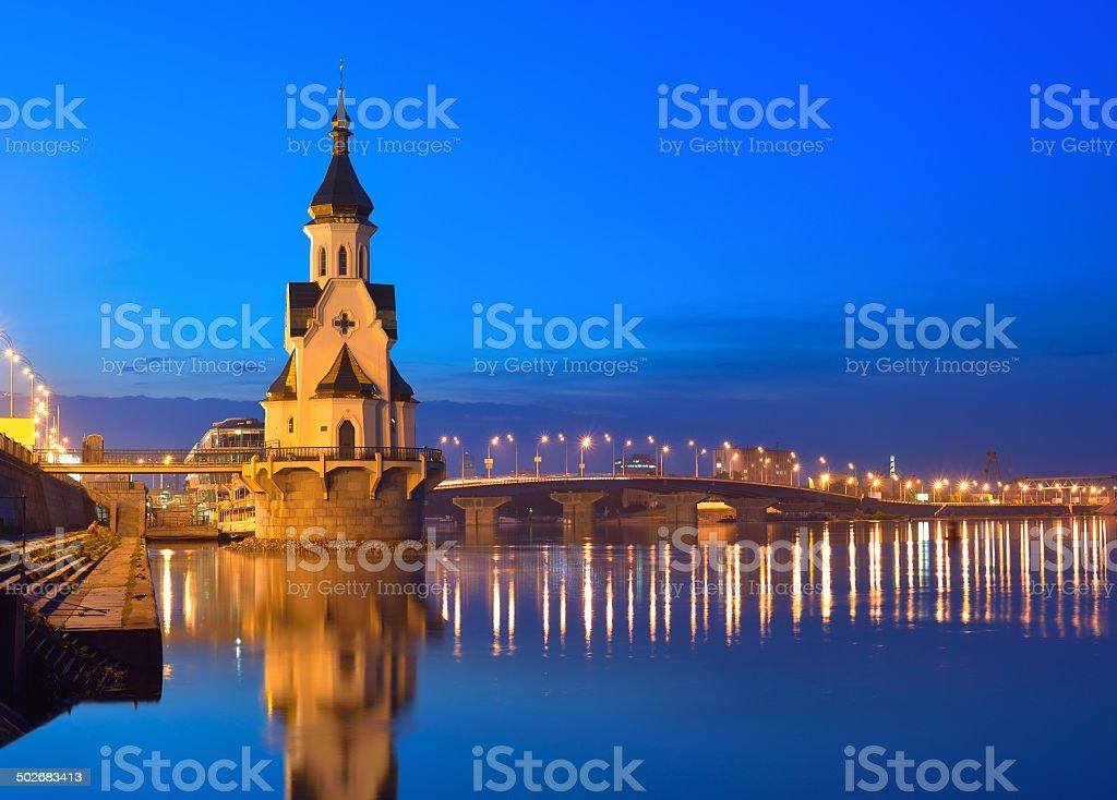 Church of Saint Nicholas, old embankment and Havanskyi Bridge stock photo