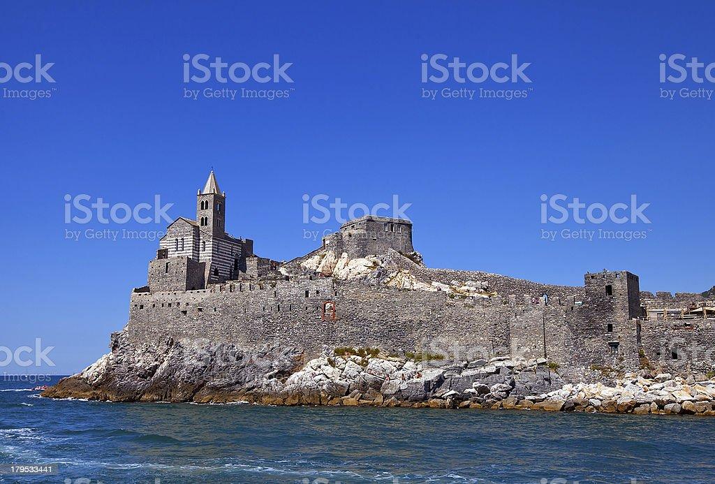 Church of Saint Peter (1198). Portovenere, Italy stock photo
