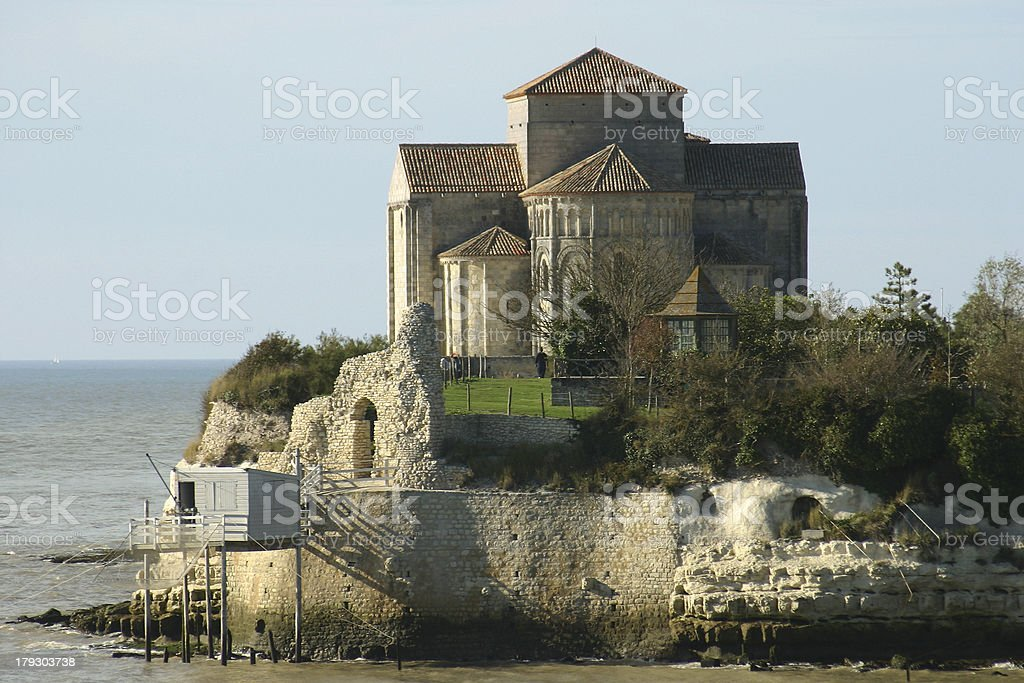 Eglise Sainte Radegonde de Talmont stock photo