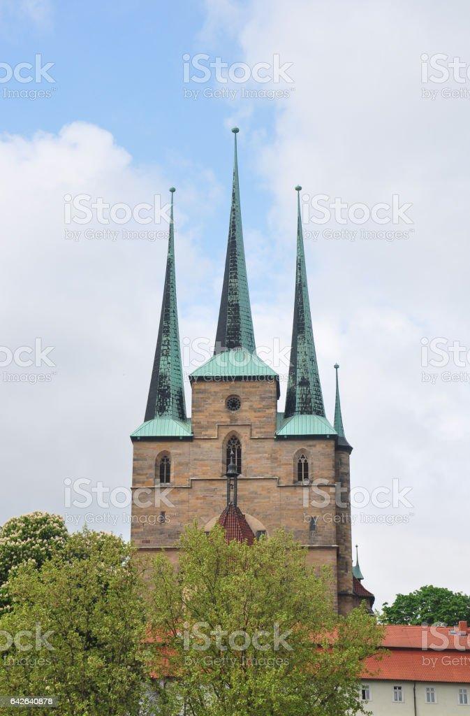 Church of Saint Severus in Erfurt stock photo