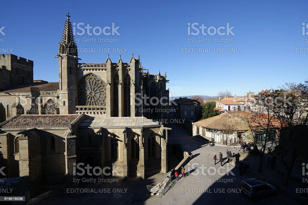 Church of Saint-Nazaire,Carcassonne stock photo