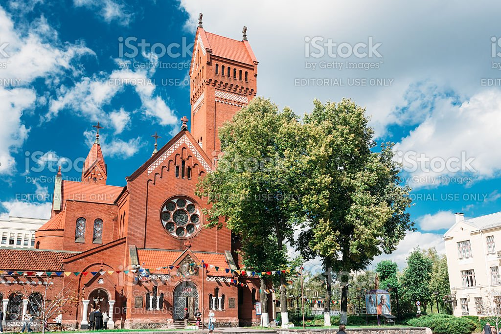 Church Of Saints Simon And Helen - Red Church Independence stock photo