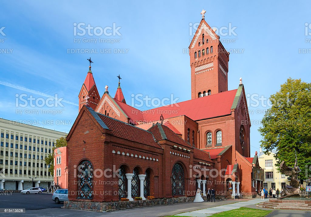 Church of Saints Simon and Helena (Red Church), Minsk, Belarus stock photo