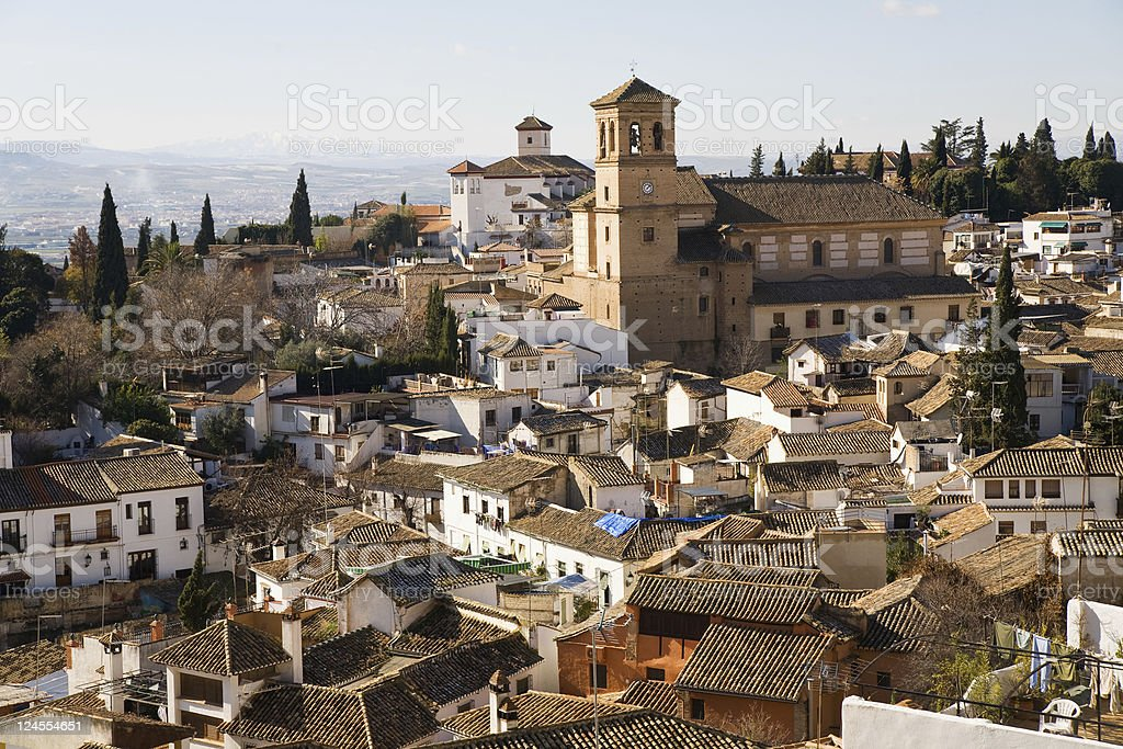 Church of Salvador in Albaicin, Granada, Andalusia, Spain. stock photo