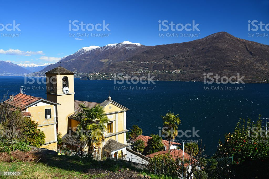 Church of San Bartolomeo at Lago Maggiore stock photo