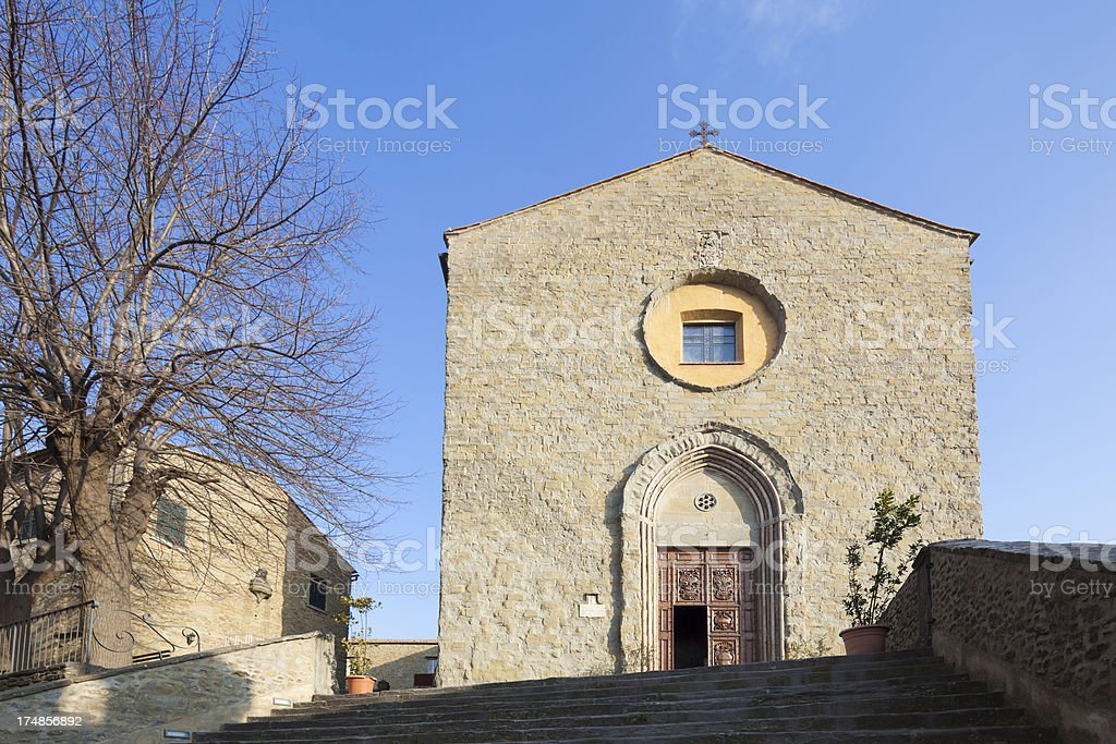 Church of San Francesco in Cortona, Tuscany Italy stock photo