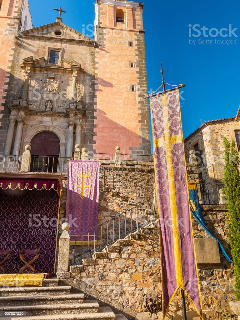 Church of San Francisco Javier. Square of St. George. Caceres stock photo