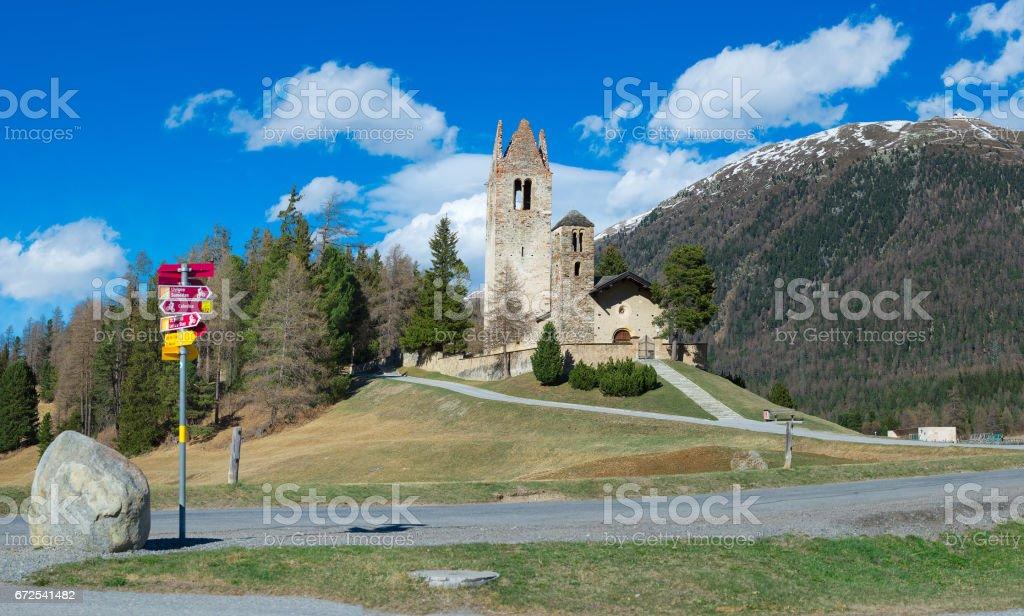 Church of San Gian in Celerina near Sankt Moritz in Switzerland stock photo