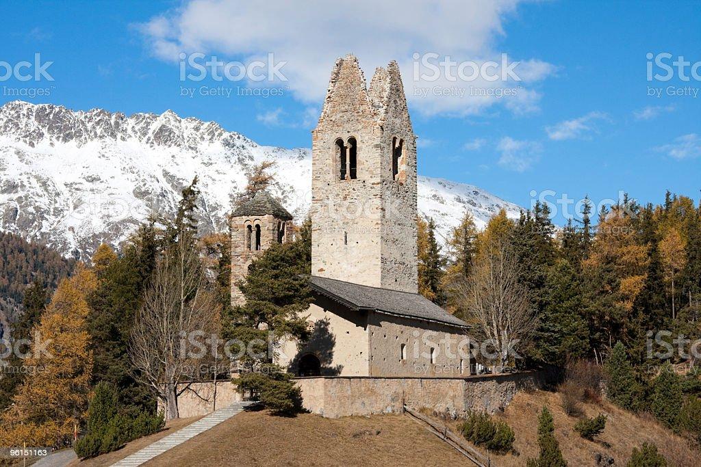 Church of San Gian in Indian Summer, Celerina, Engadine, Switzerland royalty-free stock photo