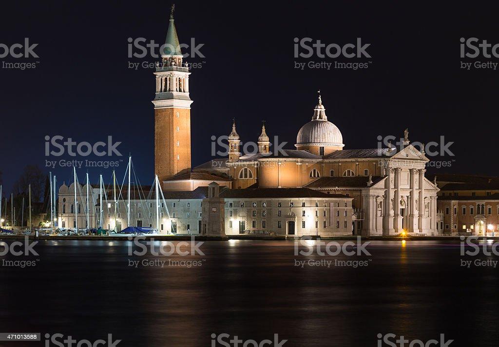 Church of San Giorgio Maggiore at night stock photo