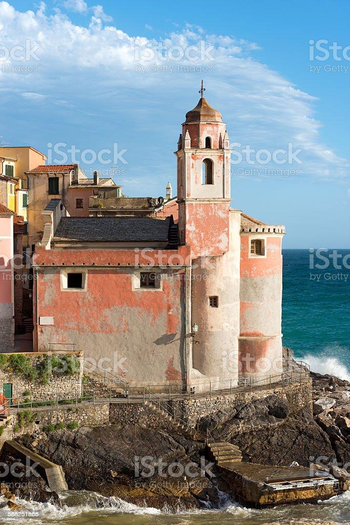 Church of San Giorgio - Tellaro Liguria Italy stock photo