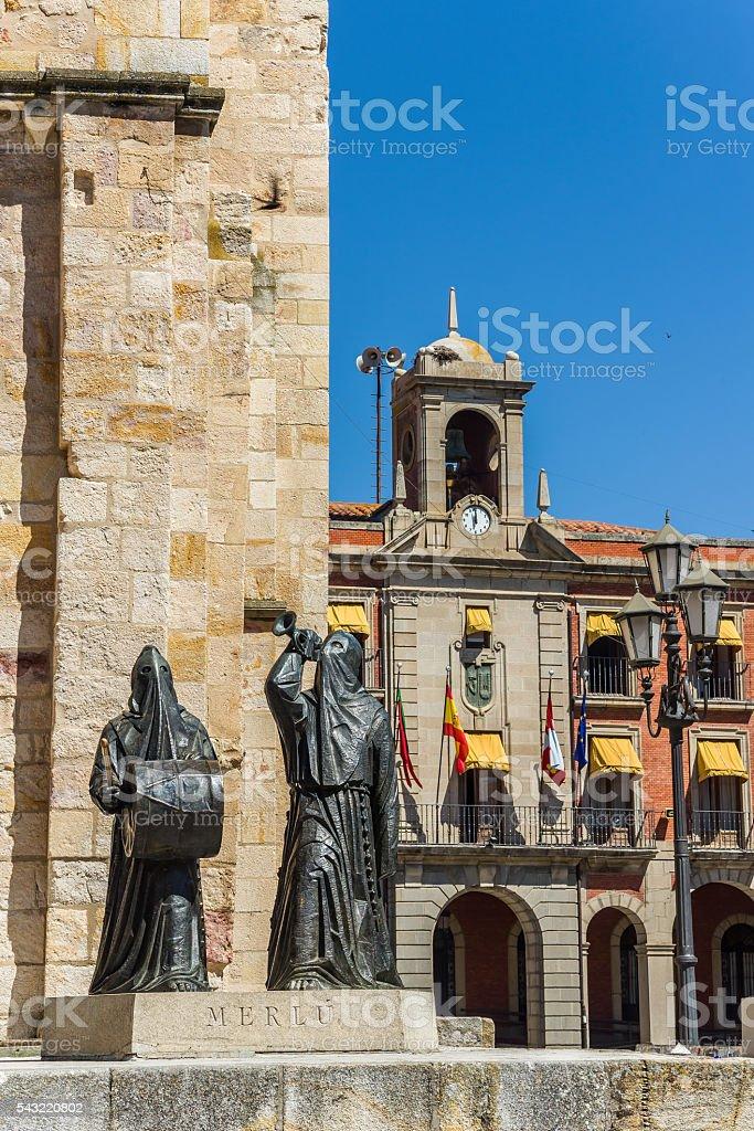 Church of San Juan Bautista in Zamora mayor square. Spain stock photo