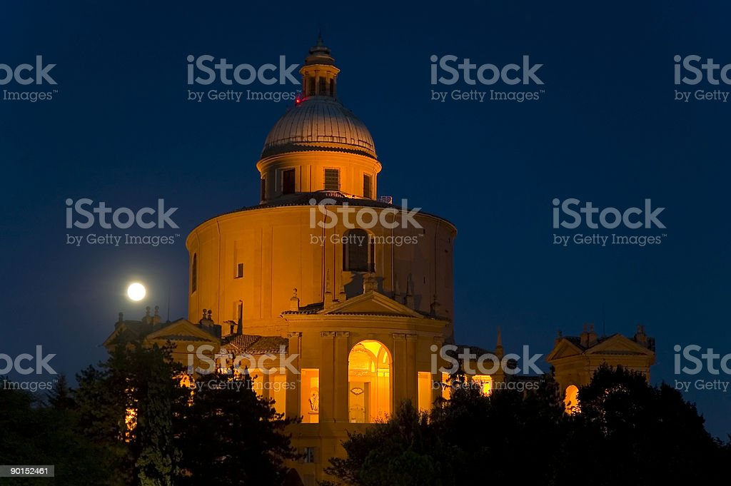 Church of San Luca in Bologna - Italy by night royalty-free stock photo
