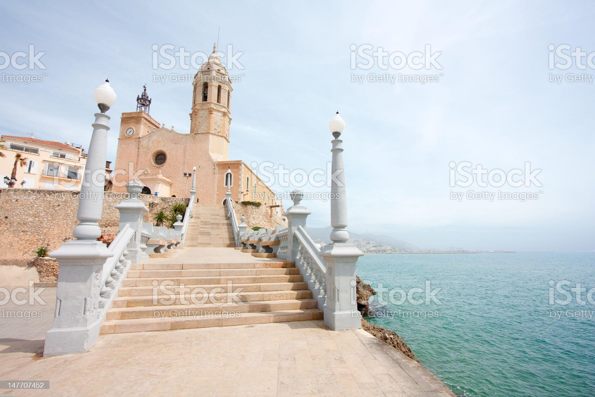 Church of Sant Bertomeu and Santa Tecla in Sitges (Barcelona) royalty-free stock photo