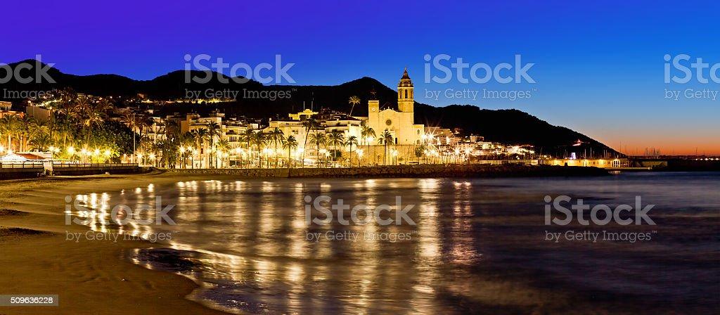 Church of Sant Bertomeu and Santa Tecla in Sitges. Spain stock photo