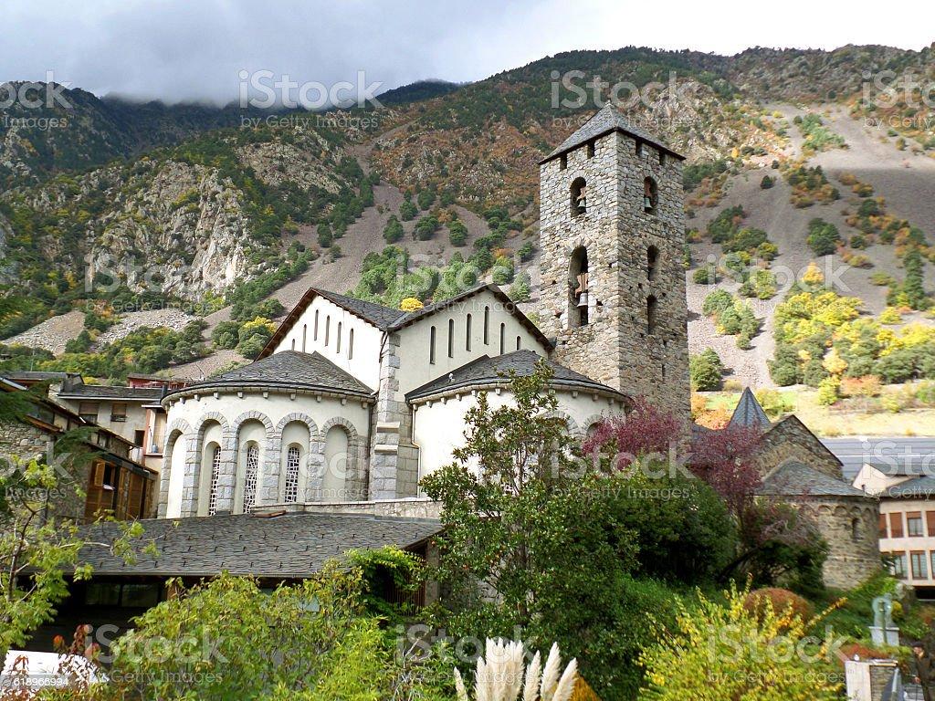 Church of Sant Esteve, Landmark of Andorra La Vella stock photo